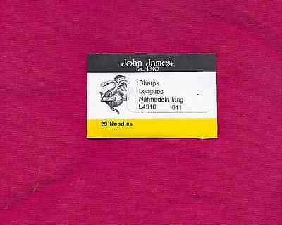 Beading Needles - John James 25 needles great for leather beading  Size #11