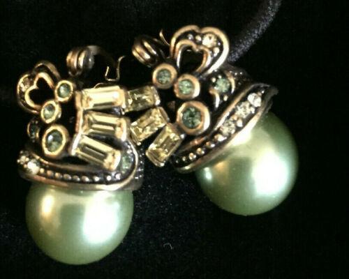 Heidi Daus BEGUILING BAGUETTES Pierced Earrings Green  in Original Box