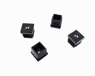 """4 Pack Threaded 1""""(OD) Square Plastic Tubing Insert 1/4-20 Threads  S27-324BK"""