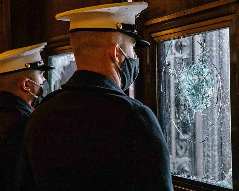 U.S. MARINES AT INAUGURATION REHEARSAL 8x10 SILVER HALIDE PHOTO PRINT
