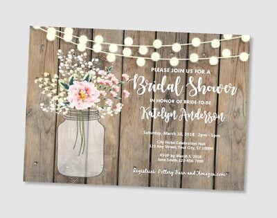 Rustic Bridal Shower Invitation, Wood And Mason Jar Bridal Shower - Rustic Showers