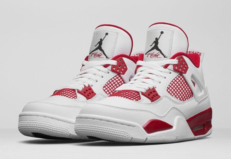 Nike Jordan Men's Air Jordan 4 Retro White/Black/Gym Red Basketball Shoe 9.5 Men US 308497-106