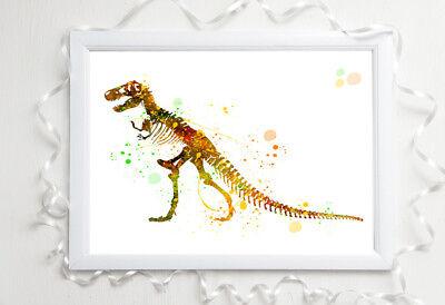 dinosaur print nursery a4 gloss poster picture,unframed watercolour 9 UNFRAMED