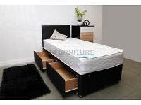 SUMMER SALE @@@ SINGLE DIVAN BED WITH MATTRESS AND HEADBOARD AND STORAGE £160