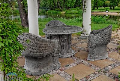 Mittelalter Stil Gartenmöbel 1x Sessel Ritter Stein Thron Garten Deko FineCrete