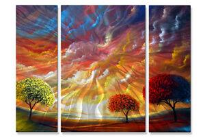 Metal-Wall-Art-Set-Abstract-Trees-Sculpture-USA-Made-Painting-Magic-Sunset