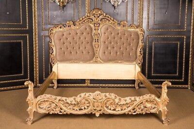 Majestätisches Doppel Bett im Stil des Louis Quinze Stil Wohnfertig