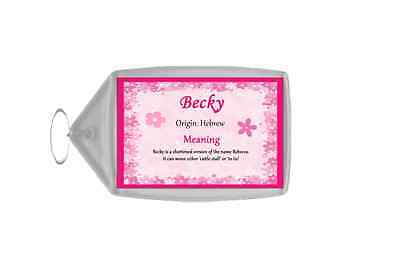 Becky Personalised Name Meaning Keyring