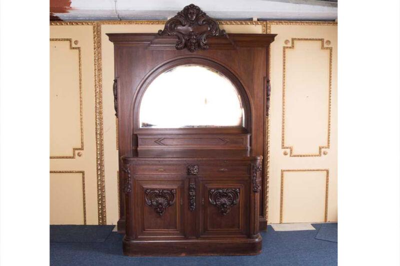 Large Neo Renaissance Mirror Buffet Dresser End 19. Century