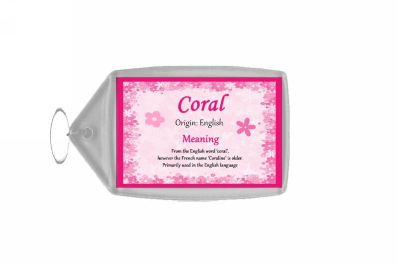 Coral Personalised Name Meaning Keyring
