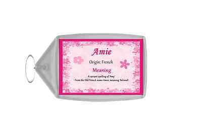 Amie Personalised Name Meaning Keyring