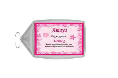 Amaya Personalised Name Meaning Keyring