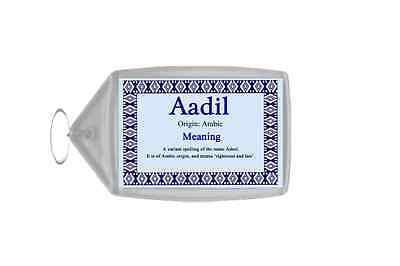 Aadil Personalised Name Meaning Keyring