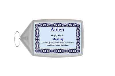 Aiden Personalised Name Meaning Keyring