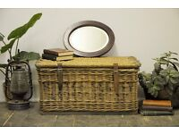 Original Large Vintage Mill Wicker Laundry Basket