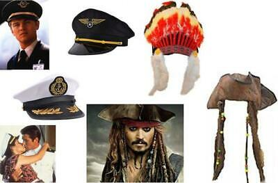 FANCY DRESS HATS CAPTAIN PILOT INDIAN PIRATE - Captain Hats