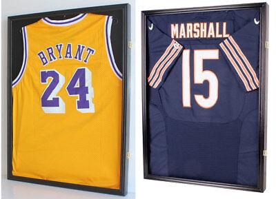 TWO Jersey Display Cases Wall Frames, UV Protection-Football Baseball Basketball