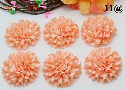 5PCS NEW 5cm Peony Flower Satin Ribbon Appliques DIY Craft Wedding Coral Colour