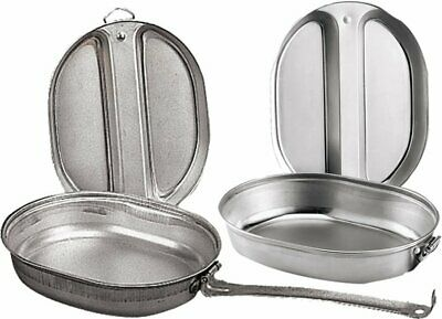 Camping Mess Kit Outdoor Travel Cookware Military Cooking Pan Cover Metal 2 Pcs - Cooking Kit