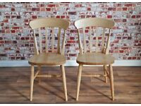 Rustic Traditional Farmhouse Beech Dining Chairs Painted - Slat Back / Spindle Back / Fiddle Back