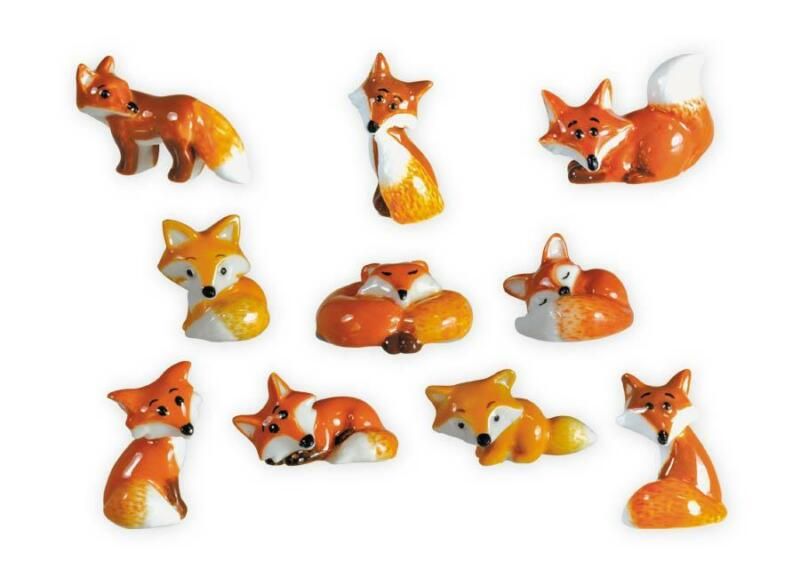 RETIRED MINIATURE FIGURINES, FOXES COLLECTION SET OF 10