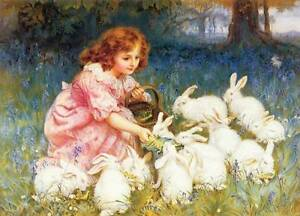 Girl with white Rabbits by Frederick Morgan