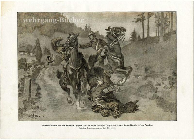 WWI print, Lt. Mayer 1st fallen officer of the war, from a German journal, 1915.