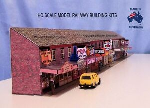HO Scale Low Relief Shops With Awnings Model Railway Building Kit - RELR2