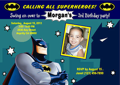 BATMAN SUPERHERO CUSTOM PHOTO BIRTHDAY PARTY INVITATION & FREE THANK YOU CARD (Custom Batman Invitations)