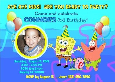 SPONGEBOB CUSTOM PRINTABLE PHOTO BIRTHDAY PARTY INVITATION & FREE THANK YOU CARD