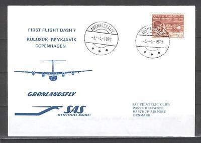 First Flight Cover G60 SAS Cargo 1979 Kulusuk - Reykyavik - Copenhagen