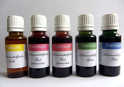 5 er Set Lebensmittelfarbe EXTRA hochkonz. 20 ml Flasche, Gelb,,2xRot,Grün,Blau