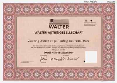 Walter AG 1990 Tübingen Stuttgart Sandvik Stockholm Schleifring Hamburg 1000 DM
