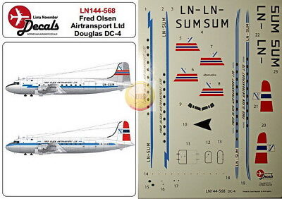 "1/144. Douglas DC-4 ""Fred. Olsen Line"", decals by ""LN Decals"" LN 144-568"