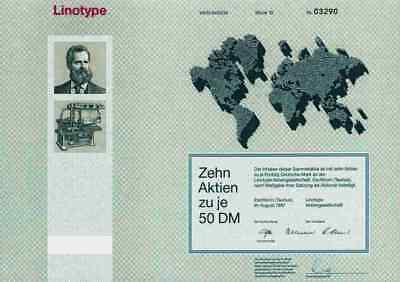 Linotype Eschborn Hell 1987 Kiel Heidelberg Bad Homburg Sammelaktie500 DM Taunus