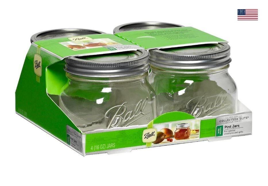 Ball Mason Wide Mouth Half Pint Jars - 8oz - 4 Jars Per Box