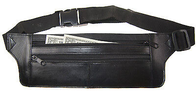 Genuine Real Leather Travel Bum Bag Hide Money Waist Belt Fanny Pack
