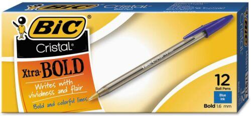 BIC Cristal Xtra Bold Stick Ballpoint Pen 1.6mm Blue Ink Clear Barrel 12-Count