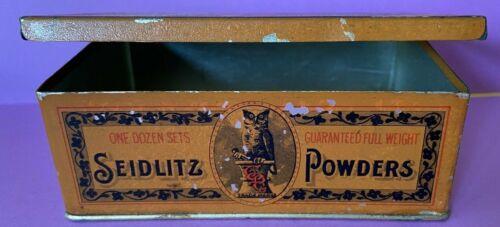 Antique Owl Drug Co Seidlitz Powders Tin 1906 San Francisco Pharmacy Apothecary