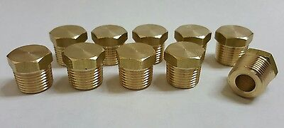 10 Pcs. 38 Mip Male Npt Brass Hex Plug. Fitting Made In Usa