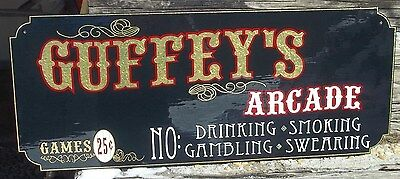 Custom Family Arcade Sign, Pinball, Gold Leaf, You pick the Name, Very Nice