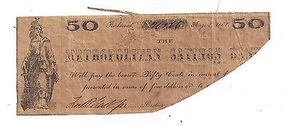 1861 Metropolitan Savings Bank  Richmond   Fifty Cent Obsolete Note No 20166