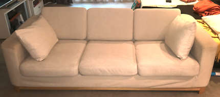 3-seater sofa, beige fabric, good condition, free pick-up