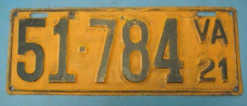 1921 Virginia License Plate single all original