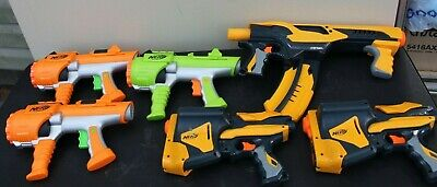 Lot of 6 NERF Dart Tag 2x Speedloads, Quick 16 blaster and 3x Hyperfire Blasters