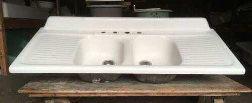 Vtg Mid Century Cast Iron White Porcelain Double Basin Drainboard Sink 180-20E