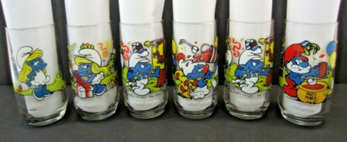 Vintage 1983 Smurf Drinking Glasses – Lot of 6 by Peyo