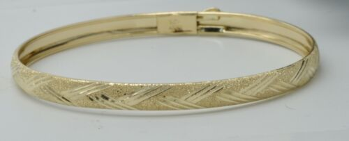 REAL 10k Yellow Solid Gold Baby Kids Wrapped Bangle bracelet fits a 5.5