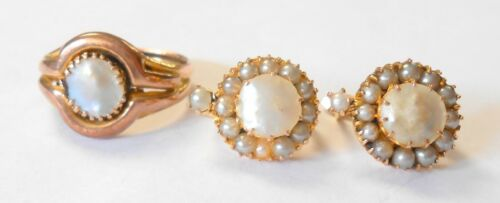 Antique 12K Yellow Gold Blister Pearl Size 8 Ring & English Lock Earrings Set