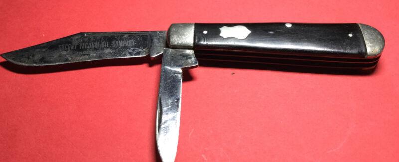 Vintage Remington R155 Pocket jack Knife Advertising Socony Vacuum Oil Company